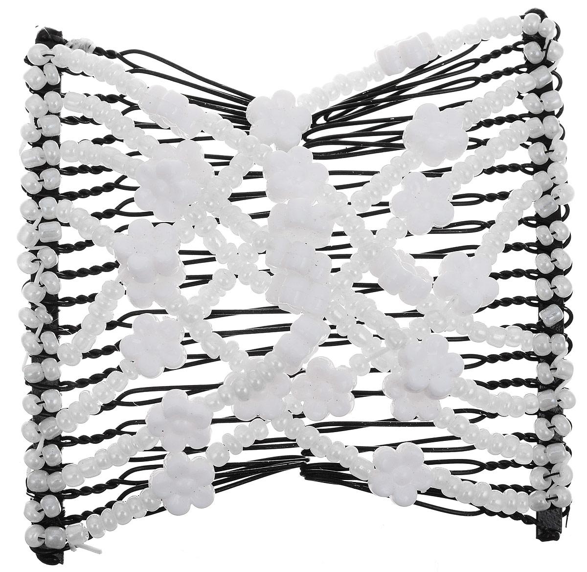 EZ-Combs Заколка Изи-Комбс, одинарная, цвет: белый, черный. ЗИО_цветочки ez combs заколка изи комбс одинарная цвет коричневый зио сердечки