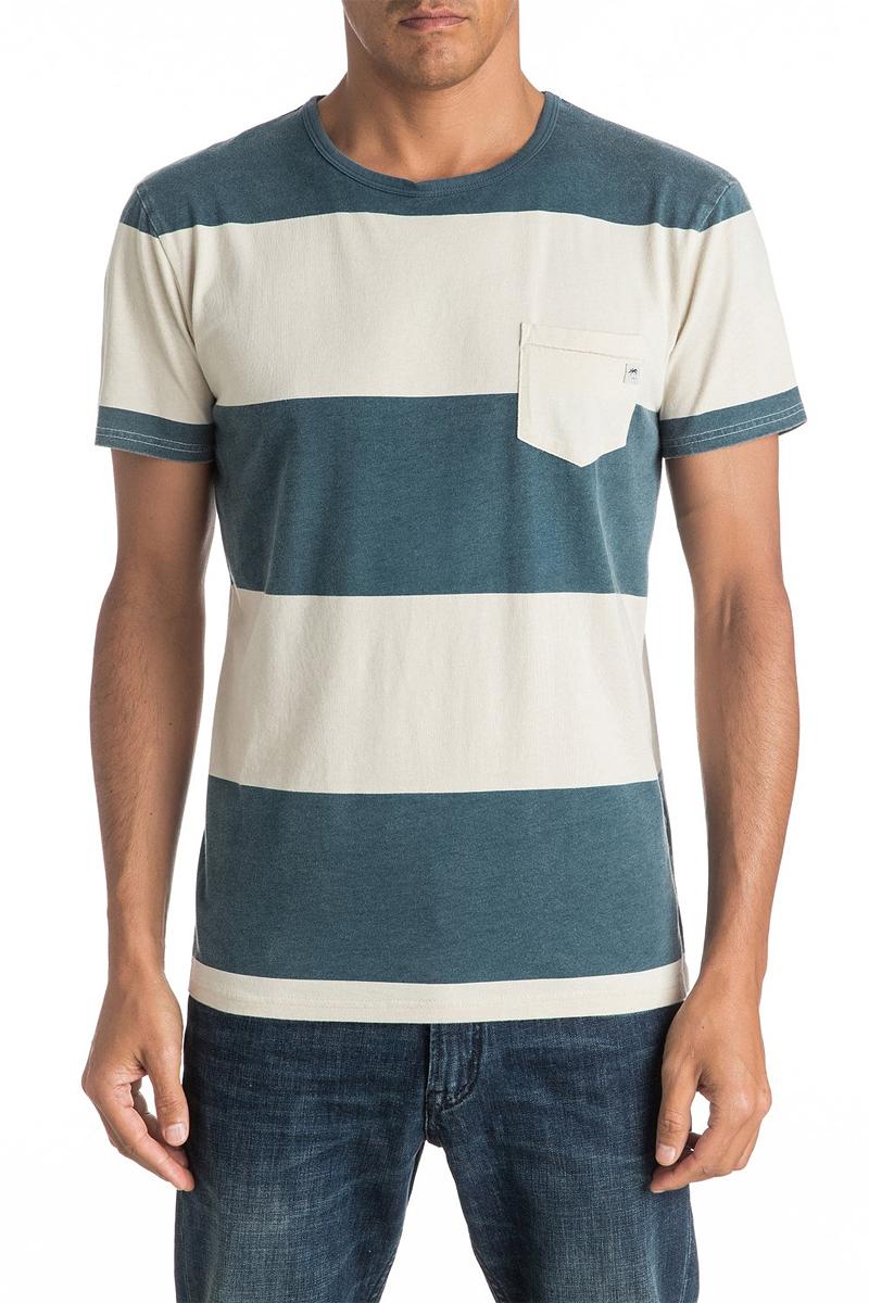 Футболка мужская Quiksilver, цвет: синий, белый. EQYKT03537-BQK0. Размер M (48)EQYKT03537-BQK0Мужская футболка Quiksilver изготовлена из натурального хлопка. Модель прямого кроя выполнена с круглой горловиной и короткими рукавами. Изделие в полоску дополнено карманом.