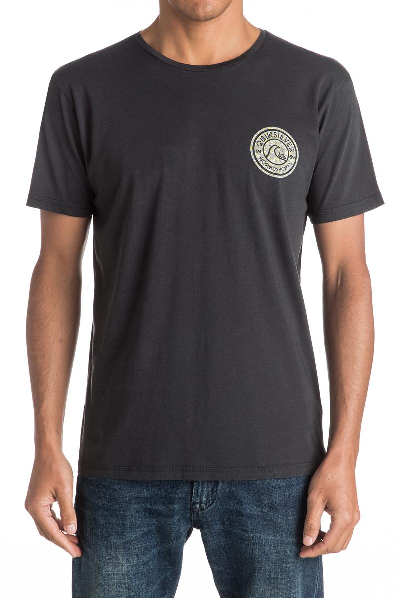 Футболка мужская Quiksilver, цвет: черный. EQYZT04329-KTA0. Размер XXL (56)EQYZT04329-KTA0Мужская футболка Quiksilver изготовлена из качественного натурального хлопка. Модель выполнена с круглой горловиной и короткими рукавами.