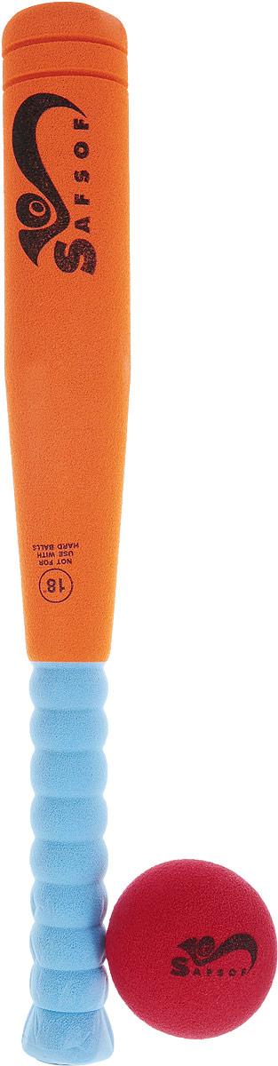 Safsof Игровой набор Бейсбольная бита и мяч цвет оранжевый голубой красный