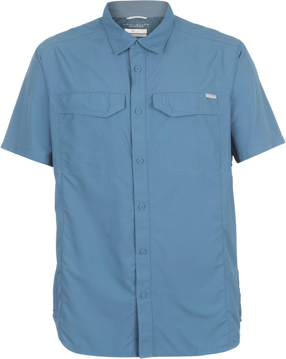 Рубашка мужская Columbia Silver Ridge SS Shirt, цвет: темно-синий. 1441661-492. Размер L (48/50)1441661-492Мужская рубашка Columbia Silver Ridge SS Shirt изготовлена из нейлона. Модель Regular Fit с отложным воротником и короткими рукавами застегивается на пуговицы. Спереди расположен накладной карман. Технология Omni-Shade UPF 50 обеспечивает максимальную защиту от УФ-лучей в течение долгих часов на солнце. Технология Omni-Wick отводит испарения от тела, влага быстро впитывается в ткань и испаряется.
