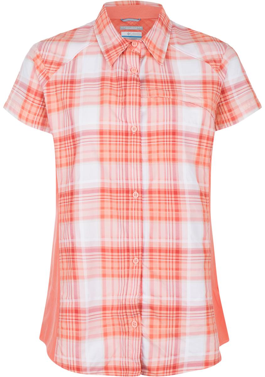 Рубашка женская Columbia Silver Ridge Plaid II SS Shirt, цвет: оранжевый, белый, розовый. 1714651-436. Размер L (48)1714651-436Женская рубашка Columbia Silver Ridge Plaid II SS Shirt изготовлена из нейлона. Модель с отложным воротником и короткими рукавами застегивается на пуговицы. Спереди расположен карман на молнии. Технология Omni-Shade UPF 30 обеспечивает максимальную защиту от УФ-лучей в течение долгих часов на солнце. Технология Omni-Wick отводит испарения от тела, влага быстро впитывается в ткань и испаряется.