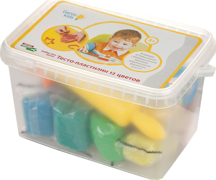 Genio Kids Тесто-пластилин 12 цветов genio kids игровой набор тайны кристаллов