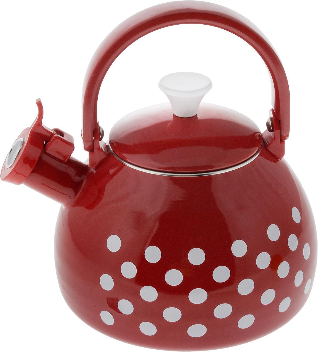 Чайник эмалированный Мetrot Горох, 2,75 л170701Чайник Мetrot Горох выполнен из стали с эмалированным покрытием. Внешние стенки оформлены ярким рисунком.Эмалированная посуда инертна и устойчива к пищевым кислотам, не вступает во взаимодействие с продуктами и не искажает их вкусовые качества. Эмалевое покрытие, являясь стекольной массой, не вызывает аллергию и надежно защищает пищу от контакта с металлом. Кроме того, такое покрытие долговечно, оно устойчиво к механическому воздействию, не царапается и не сходит, а стальная основа практически не подвержена механической деформации, благодаря чему срок эксплуатации увеличивается. Носик чайника оснащен насадкой-свистком, что позволит вам контролировать процесс подогрева или кипячения воды. Подвижная ручка изготовлена из качественного металла. Эстетичный и функциональный чайник будет оригинально смотреться в любом интерьере.Подходит для всех типов плит, включая галогеновые конфорки и индукционные плиты. Можно мыть в посудомоечной машине. Высота чайника (без учета ручки и крышки): 13,5 см.Высота чайника (с учетом ручки): 24 см.