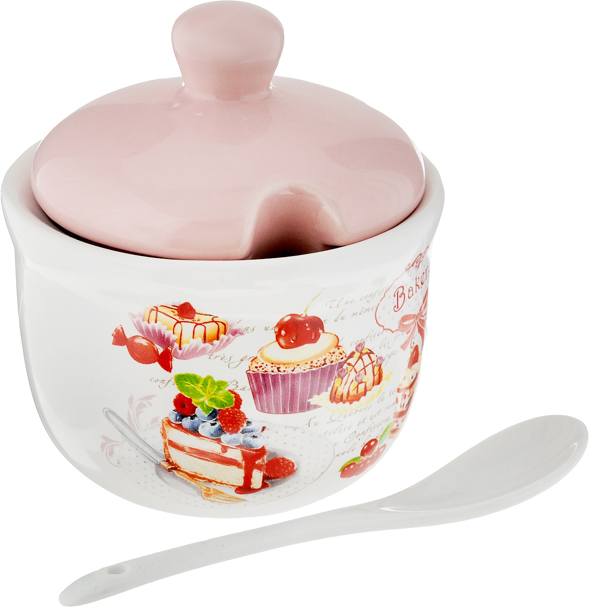 Сахарница ENS Group Бисквит, с ложкой, цвет: розовый, белый, 300 мл, 2 предмета. L3170209