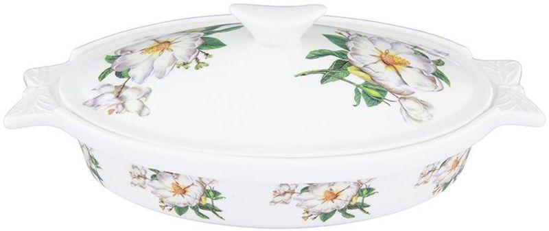 Блюдо для запекания Elan Gallery Белый шиповник, с крышкой, 600 мл блюдо для запекания и сервировки со стеклянной крышкой соты 2 пр quelle elan gallery 1033293