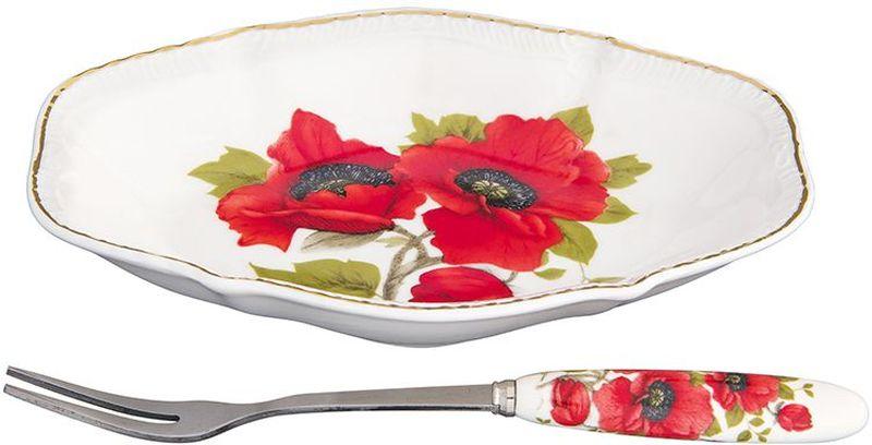Тарелка Elan Gallery Маки, овальная, с вилкой, цвет: белый, красный, 15 х 10 х 2,5 см