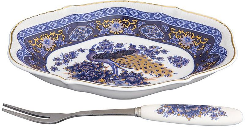 Тарелка Elan Gallery Павлин синий, овальная, с вилкой, 15 х 10 х 2,5 см