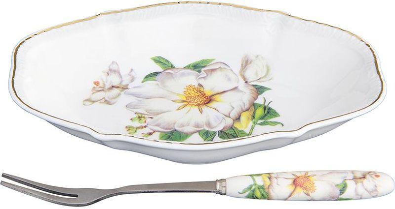 Тарелка Elan Gallery Белый шиповник, овальная, с вилкой, 15 х 10 х 2,5 см180967Блюдо подходит для сервировки оливок или снеков. Оригинальная вилочка очень удобна в использовании.Изделие имеет подарочную упаковку, поэтому станет желанным подарком для ваших близких!