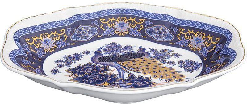 Блюдо-шпротница Elan Gallery Павлин синий, овальное, 350 мл набор чайных пар elan gallery павлин синий с ложками 6 предметов