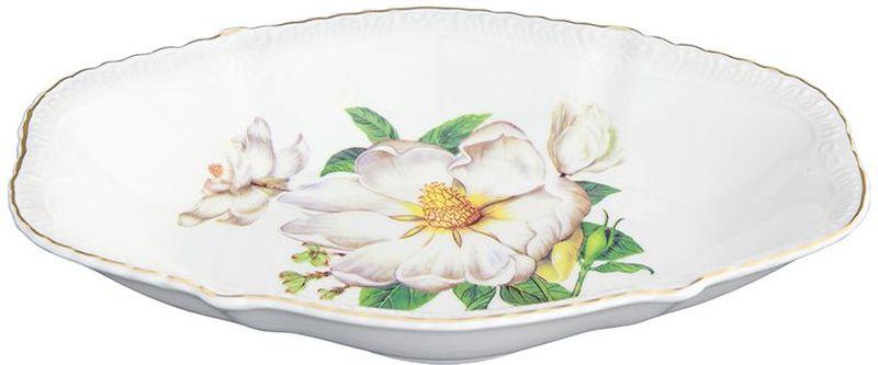 Блюдо-шпротница Elan Gallery Белый шиповник, овальное, 350 мл tanite victoir platineatine 1489 блюдо овальное 35 см цвет белый с платиной