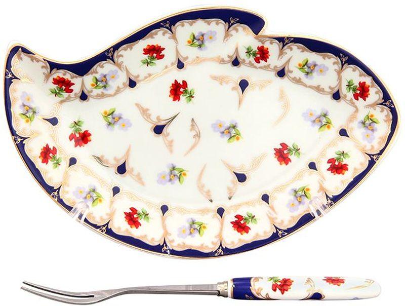 Тарелка под лимон Elan Gallery Цветочек, с вилкой, 17 х 11 х 2 см