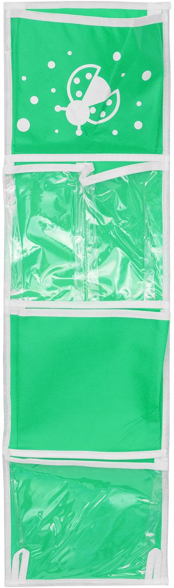 """Практичный органайзер с кармашками Все на местах """"Божья коровка"""" станет  помощником для детей, родителей и воспитателей в детском саду.  Изготовлено изделие из высококачественного нетканого материала (спанбонда) и ПВХ.  Органайзер занимает мало места, он компактно поместится в детском шкафчике. Для комфорта  сверху и снизу предусмотрены небольшие петельки. Изделие содержит 5 кармашков  без застежек. В органайзер поместятся все необходимые ребенку принадлежности, а также  небольшие игрушки.  Размер органайзера: 73 x 20 см."""