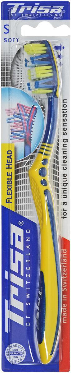 Trisa зубная щетка Флексибл Хеад, мягкая щетина, цвет: синий, желтый517402_синий, желтый