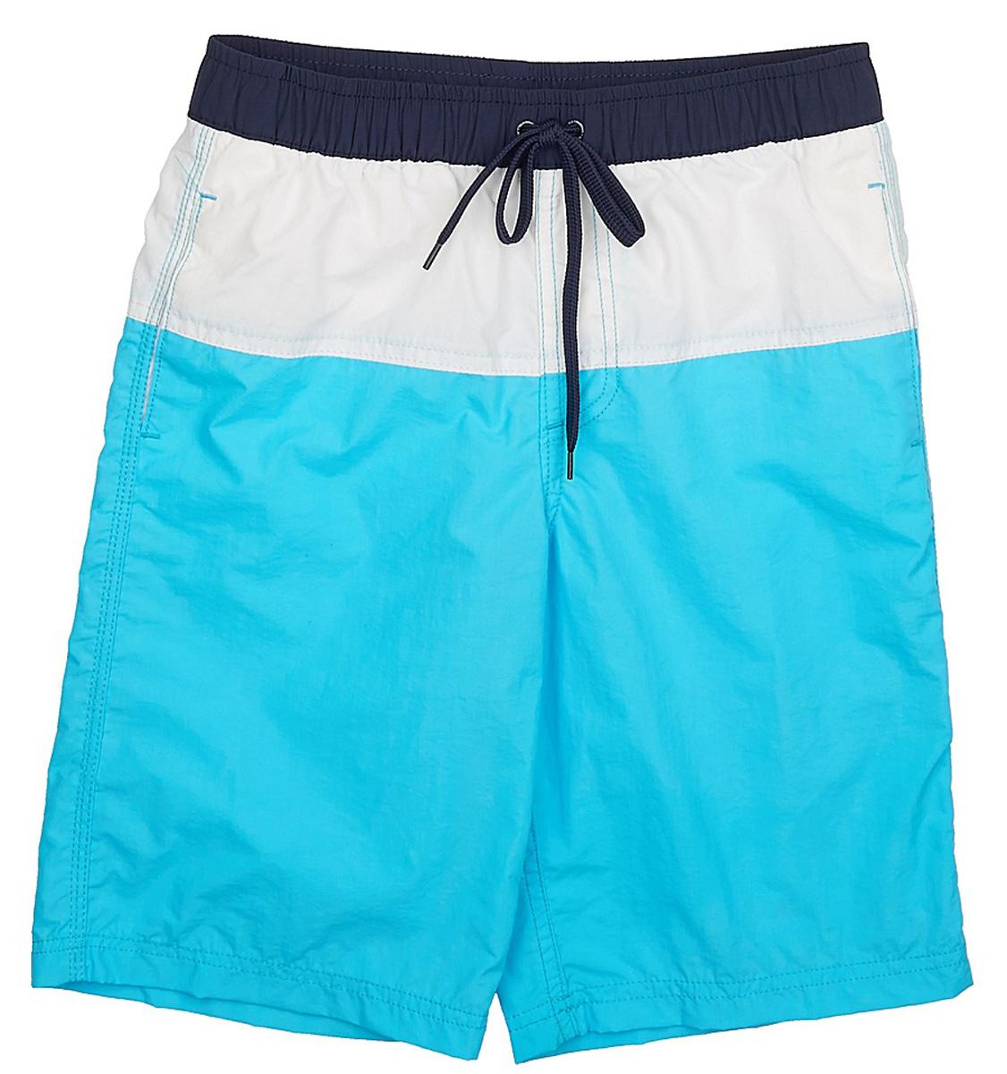 Шорты пляжные для мальчика Sela, цвет: светлый аквамарин. SHsp-815/334-7225. Размер 128SHsp-815/334-7225Пляжные шорты для мальчика Sela, изготовленные из качественного материала трех цветов, - идеальный вариант, как для купания, так и для отдыха на пляже. Модель с вшитыми сетчатыми трусиками на поясе имеет эластичную резинку, регулируемую шнурком, благодаря чему шорты не сдавливают живот ребенка и не сползают. Изделие дополнено двумя прорезными карманами.Шорты быстро сохнут и сохраняют первоначальный вид и форму даже при длительном использовании.