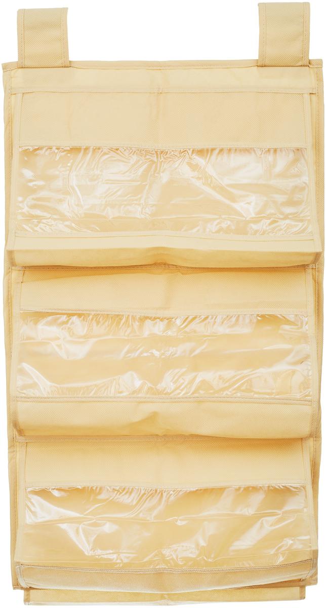 Кофр для сумок и аксессуаров Все на местах Minimalistic, цвет: бежевый, 8 секций, 40 х 70 см1011019.Кофр для сумок и аксессуаров Все на местах Minimalistic выполнен из спанбонда и ПВХ. Модель крепится на штангу в шкафу или вешалку-плечики. Выделено 8 секций для хранения сумок, клатчей, театральных сумок, кошельков, зонтов, перчаток, палантинов, шарфов, шалей и т.д. Кофр решает проблему компактного хранения сумок и экономит место в шкафу.Размеры: 40 х 70 см.