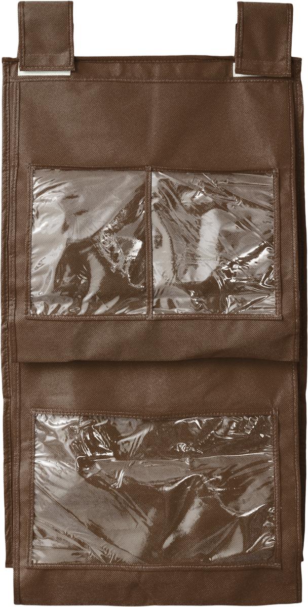Кофр для сумок и аксессуаров Все на местах Minimalistic, цвет: темно-коричневый, 8 секций, 40 х 70 см1015019.Кофр для сумок и аксессуаров Все на местах Minimalistic выполнен из спанбонда и ПВХ. Модель крепится на штангу в шкафу или вешалку-плечики. Выделено 8 секций для хранения сумок, клатчей, театральных сумок, кошельков, зонтов, перчаток, палантинов, шарфов, шалей и т.д. Кофр решает проблему компактного хранения сумок и экономит место в шкафу.Размеры: 40 х 70 см.