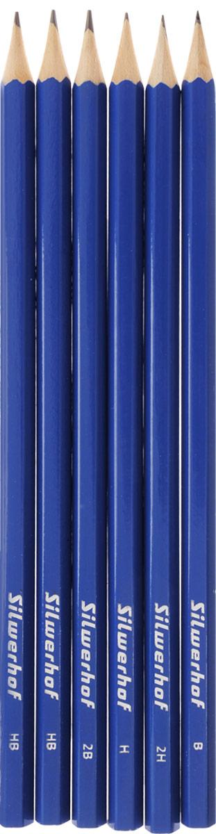 Silwerhof Набор чернографитовых карандашей 6 шт120620-00Набор чернографитовых карандашей Silwerhof отлично подойдет для подчеркивания и в промышленной сфере.Чернографитовый карандаш держать в руке приятно. Ощущение природной фактуры под пальцами, легкий запах древесины настраивают на спокойную плодотворную работу. Но если говорить об удобстве использования, то лучше механического карандаша не найти. Карандаши этого набора - безусловные лидеры!