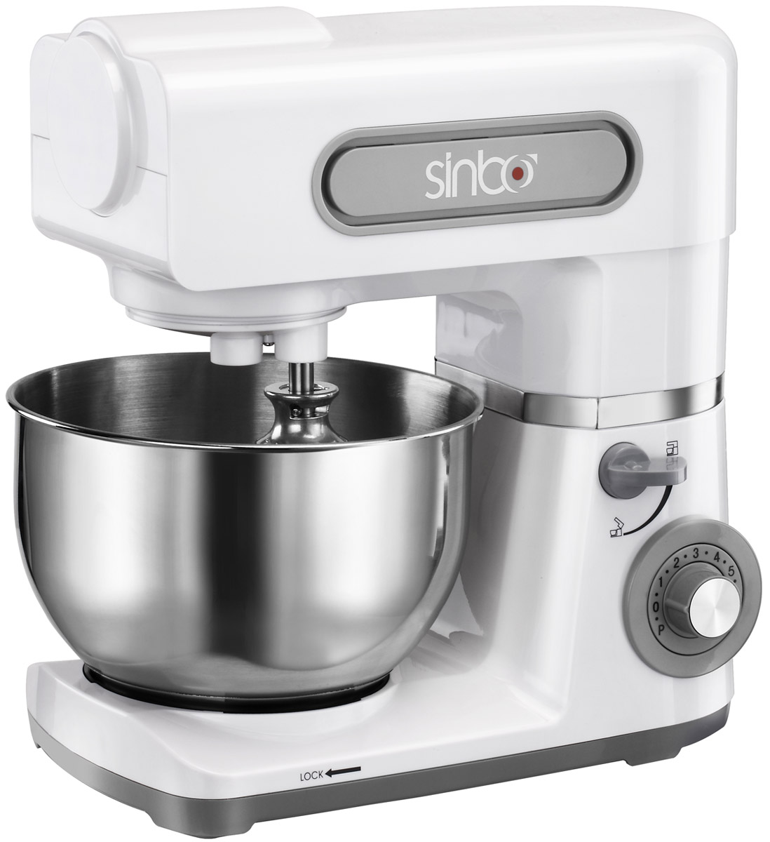 Sinbo SMX 2734W миксерSMX 2734Миксер Sinbo SMX 2734W поможет смешать ингредиенты, взбить яичный белок или сливки, приготовить картофельное пюре, соус, крем, мусс, замесить тесто. Уникальный метод планетарного смешивания заключается в том, что венчик совершает обороты в одну сторону, а привод в это время движется по кругу в другую сторону, тщательно смешивая ингредиенты и не оставляя неохваченных участков ни в одной части чаши. Устройство оснащено высокой мощностью в 800 Вт, шестью скоростными режимами и импульсным режимом. Управление осуществляется с помощью поворотного регулятора, что обеспечивает простоту использования прибора. При включении миксера скорость вращения увеличивается постепенно, чтобы предотвратить разбрызгивание ингредиентов. Верхняя панель устройства поднимается для удобной смены насадок и установки чаши. Сама чаша объемом 5 литров имеет удобную эргономичную ручку. Ее разрешается мыть в посудомоечной машине. В передней части привода миксера имеется еще одно гнездо для подсоединения дополнительных насадок. В комплект входят две насадки: для взбивания и крюк для приготовления теста и пасты. Они позволяют выполнять все виды работ, которые должен выполнять данный прибор. Как выбрать планетарный миксер. Статья OZON Гид