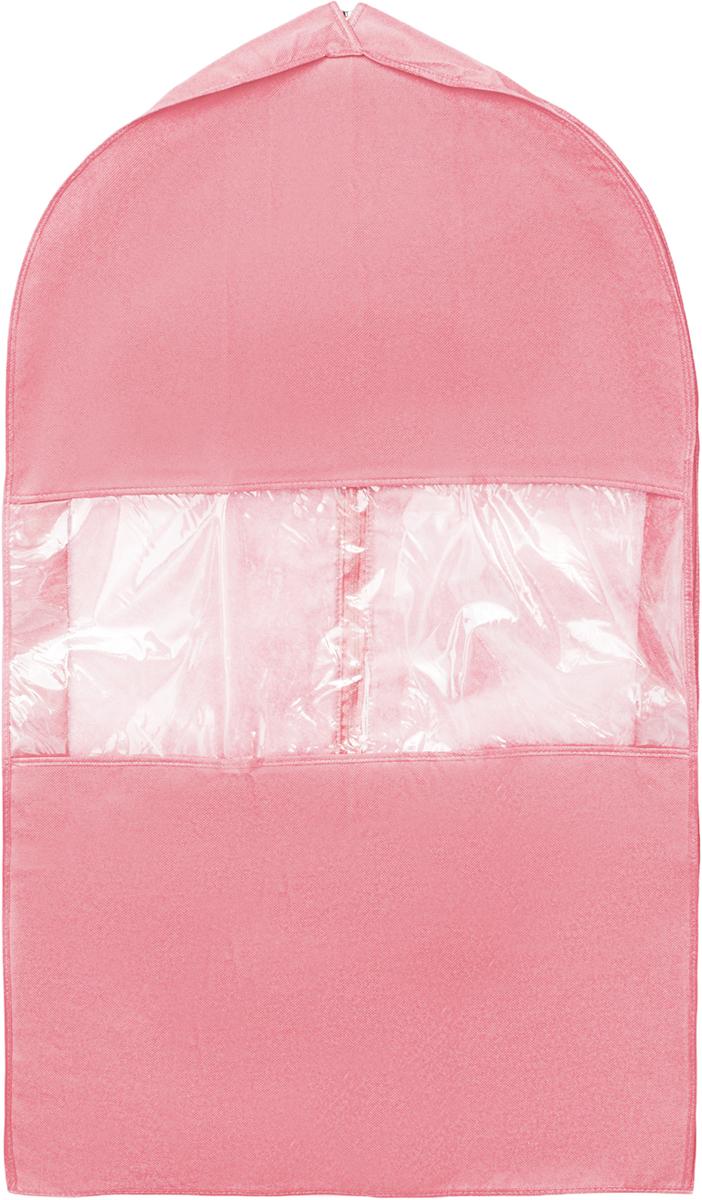 Чехол для костюма Все на местах Minimalistic, цвет: розовый, 100 х 60 х 10 см. 10140081014008.Чехол для костюма Все на местах Minimalistic изготовлен из сочетания спанбонда и ПВХ. Прозрачное окошко значительно облегчает поиск необходимой вещи в гардеробе, а элегантный классический дизайн подойдет к любому гардеробу. Этот чехол для костюма позволит аккуратно переносить любимые вещи, не помяв их и не испачкав во время путешествия.В верхней части чехла есть отверстие для вешалки. Застегивается чехол на прочную молнию.Материал: спанбонд, ПВХ.Размеры: 100 х 60 х 10 см.