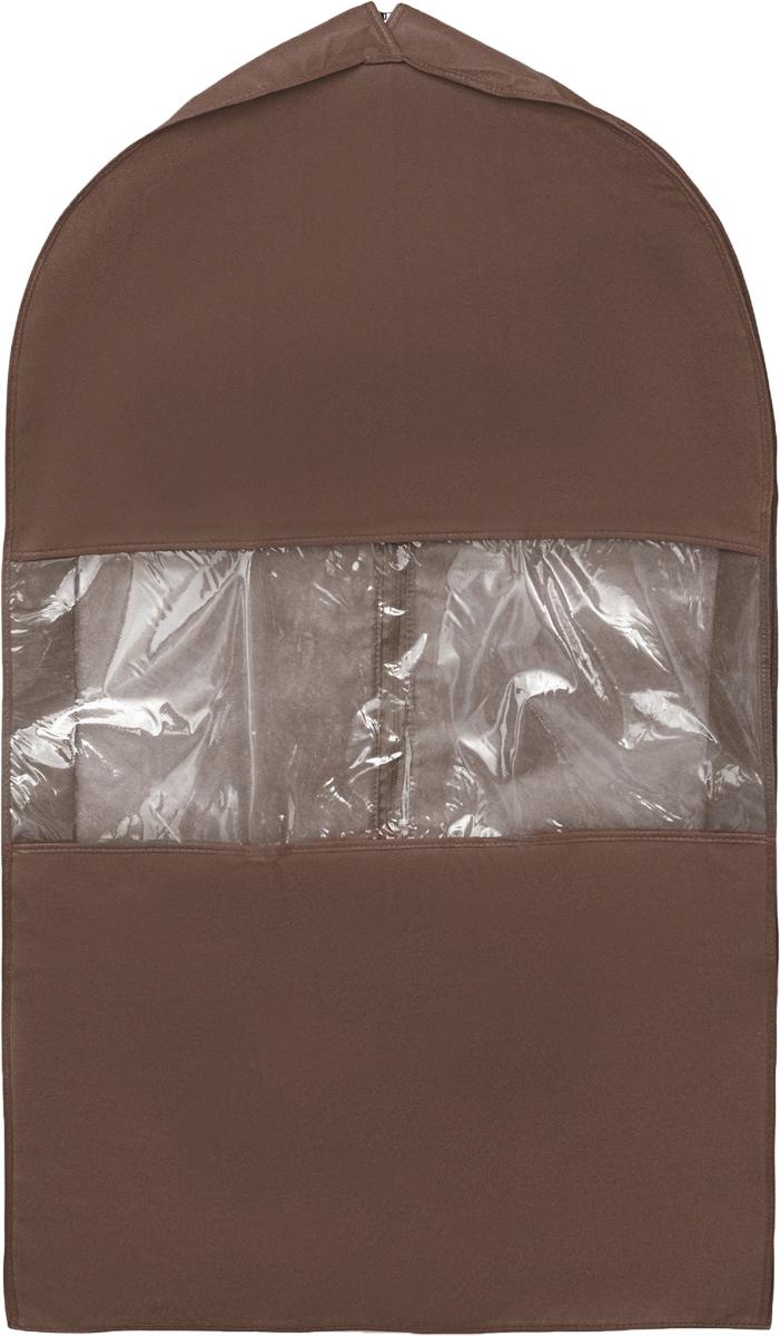 Чехол для костюма Все на местах Minimalistic, цвет: темно-коричневый, 100 х 60 х 10 см1015008.Чехол для костюма Все на местах Minimalistic изготовлен из сочетания спанбонда и ПВХ. Прозрачное окошко значительно облегчает поиск необходимой вещи в гардеробе, а элегантный классический дизайн подойдет к любому гардеробу. Этот чехол для костюма позволит аккуратно переносить любимые вещи, не помяв их и не испачкав во время путешествия.В верхней части чехла есть отверстие для вешалки. Застегивается чехол на прочную молнию.Материал: спанбонд, ПВХ.Размеры: 100 х 60 х 10 см.