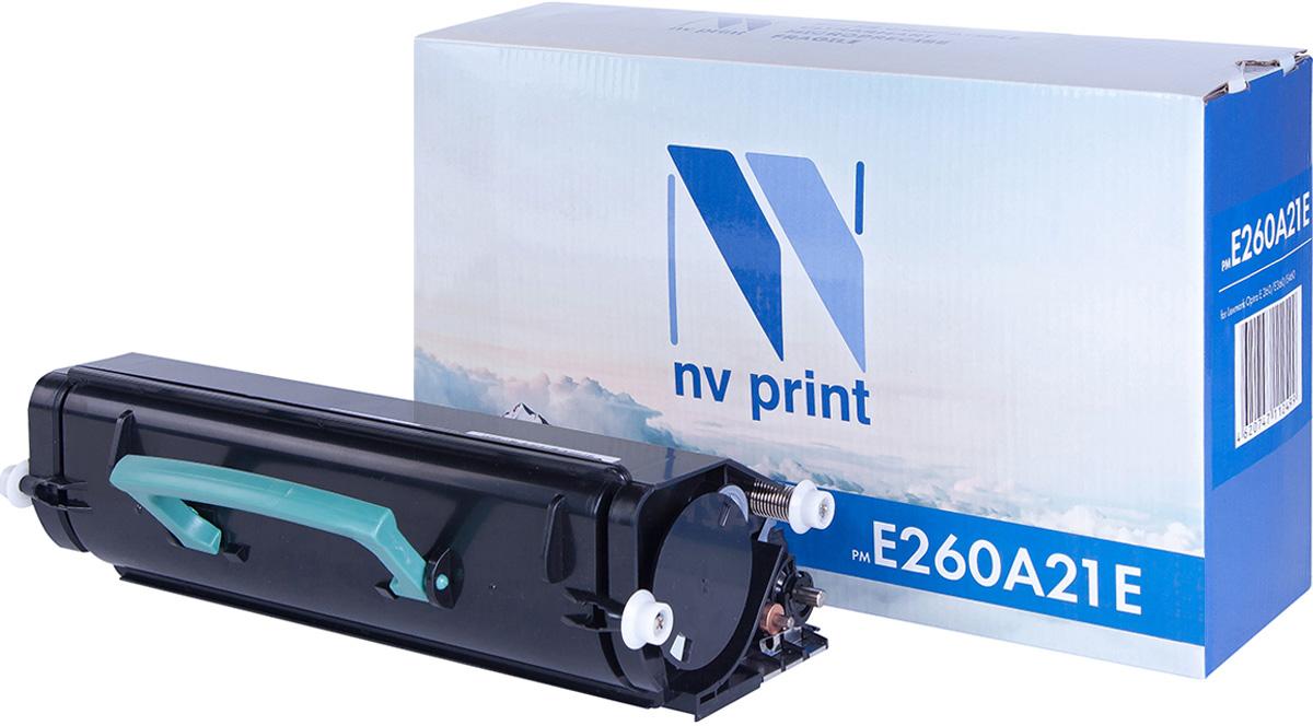 NV Print E260A21E, Black тонер-картридж для Lexmark Optra E 260/E360/E460NV-E260A21EСовместимый лазерный картридж NV Print E260A21E для печатающих устройств Lexmark - это альтернатива приобретению оригинальных расходных материалов. При этом качество печати остается высоким. Картридж обеспечивает повышенную чёткость чёрного текста и плавность переходов оттенков серого цвета и полутонов, позволяет отображать мельчайшие детали изображения.Лазерные принтеры, копировальные аппараты и МФУ являются более выгодными в печати, чем струйные устройства, так как лазерных картриджей хватает на значительно большее количество отпечатков, чем обычных. Для печати в данном случае используются не чернила, а тонер.