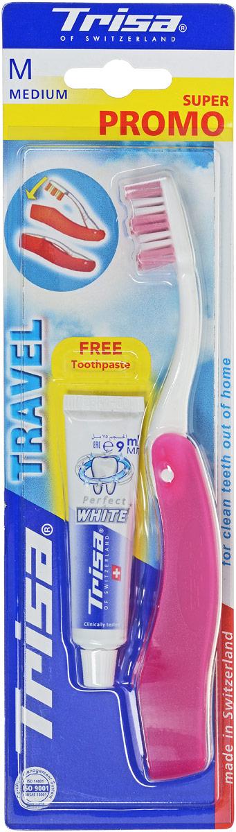 Trisa Набор Дорожный: зубная щетка Тревел + паста отбеливающая, 15 мл, цвет: белый, розовый622044_белый, розовый