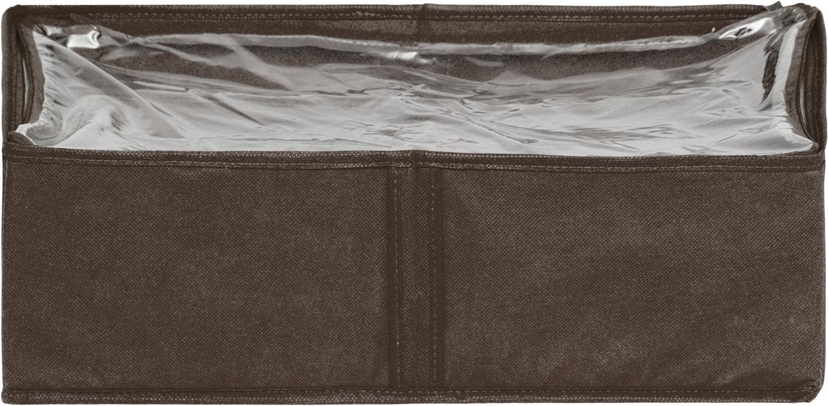 Чехол для одеял Все на местах Minimalistic, цвет: коричневый, 80 х 45 х 15 см1015022.Чехол для одеял Minimalistic выполнен из сочетания ПВХ, спанбонда и изолона. Модель имеет две удобные вертикальные ручки. В стенки чехла вставлен уплотнитель, что позволяет ему держать форму.Материал: спанбонд, ПВХ, изолон.Размер: 80 х 45 х 15 см.