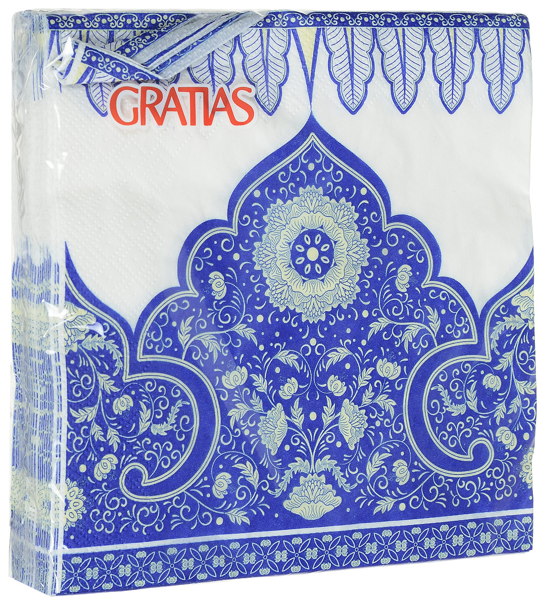 Салфетки бумажные Gratias Персия, трехслойные, 33 х 33 см, 20 шт1899Трехслойные бумажные салфетки Gratias Персия, выполненные из натуральной целлюлозы, станут отличным дополнением праздничного стола. Они отличаются необычной мягкостью и прочностью. Салфетки красиво оформят сервировку стола. Размер салфеток: 33 х 33 см.