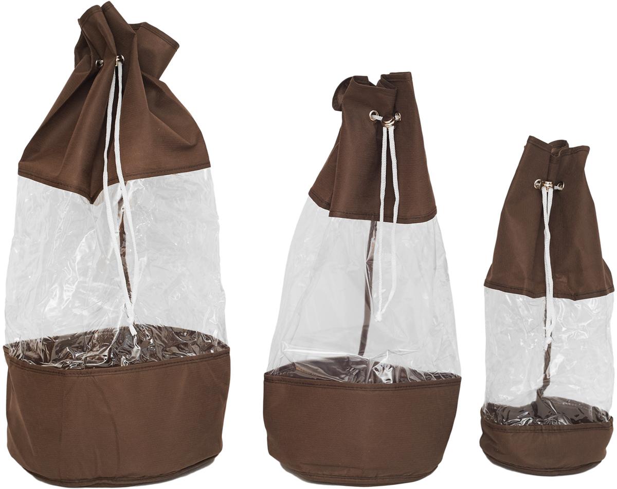 Набор мешочков Все на местах Minimalistic, цвет: темно-коричневый, 3 шт ваза mughal l 20 х 20 х 30 см