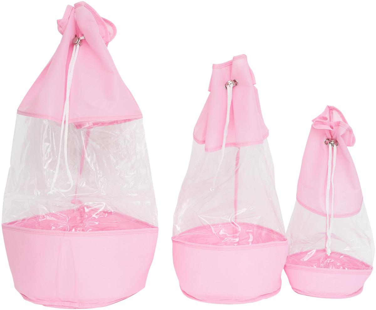 Набор мешочков Все на местах Minimalistic, цвет: розовый, 3 шт1014023.Набор мешочков Все на местах Minimalistic выполнен из прочного ПВХ и дышащего материала, состоит из трех мешочков разных размеров: 60 см х 25 см, 50 см х 20 см, 40 см х 15 см. Мешочки затягиваются шнурком с фиксатором.Эстетично и компактно хранить мелкие вещи теперь просто.