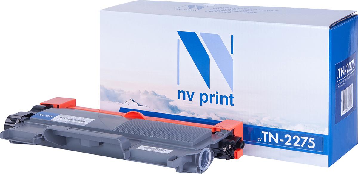 NV Print NV-TN2275T, Black тонер-картридж для Brother HL-2240R/2240DR/2240NDR/DCP-7060DR/7065DNR/7070DWR/MFC-7360NR/7860DWR/FAX-2845R/FAX-2940RNV-TN2275Совместимый лазерный картридж NV Print NV-TN2275 для печатающих устройств Brother - это альтернатива приобретению оригинальных расходных материалов. При этом качество печати остается высоким. Картридж обеспечивает повышенную чёткость чёрного текста и плавность переходов оттенков серого цвета и полутонов, позволяет отображать мельчайшие детали изображения.Лазерные принтеры, копировальные аппараты и МФУ являются более выгодными в печати, чем струйные устройства, так как лазерных картриджей хватает на значительно большее количество отпечатков, чем обычных. Для печати в данном случае используются не чернила, а тонер.