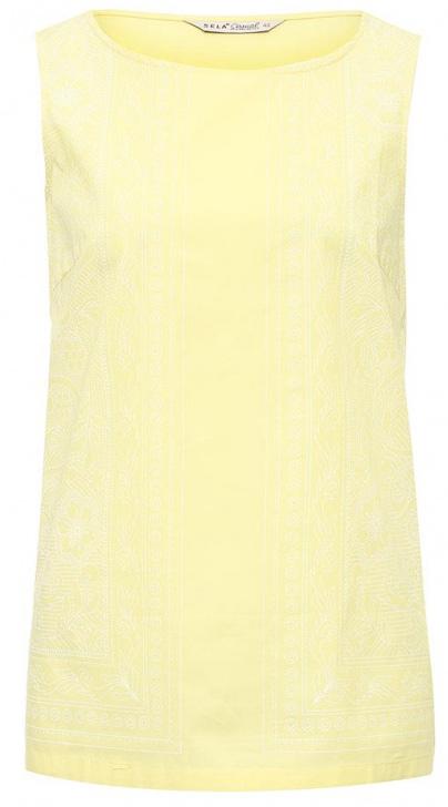 Топ женский Sela, цвет: ярко-желтый. Tcsl-111/162-7225. Размер 48Tcsl-111/162-7225Оригинальный женский топ Sela выполнен из качественного комбинированного материала и спереди оформлен модным принтом. Модель прямого кроя без рукавов подойдет для прогулок и дружеских встреч, будет отлично сочетаться с джинсами и брюками, а также гармонично смотреться с юбками. Мягкая ткань на основе хлопка и полиэстера комфортна и приятна на ощупь.