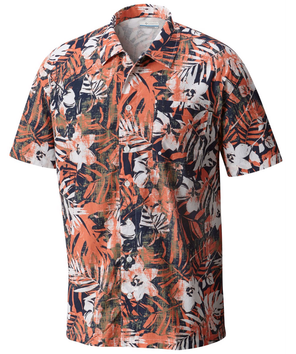 Рубашка мужская Columbia Trollers Best SS Shirt, цвет: оранжевый, черный, белый. 1438981-801. Размер M (46/48) рубашка женская kepler shirt w цвет зеленый 1401723 7734 размер m 46 48