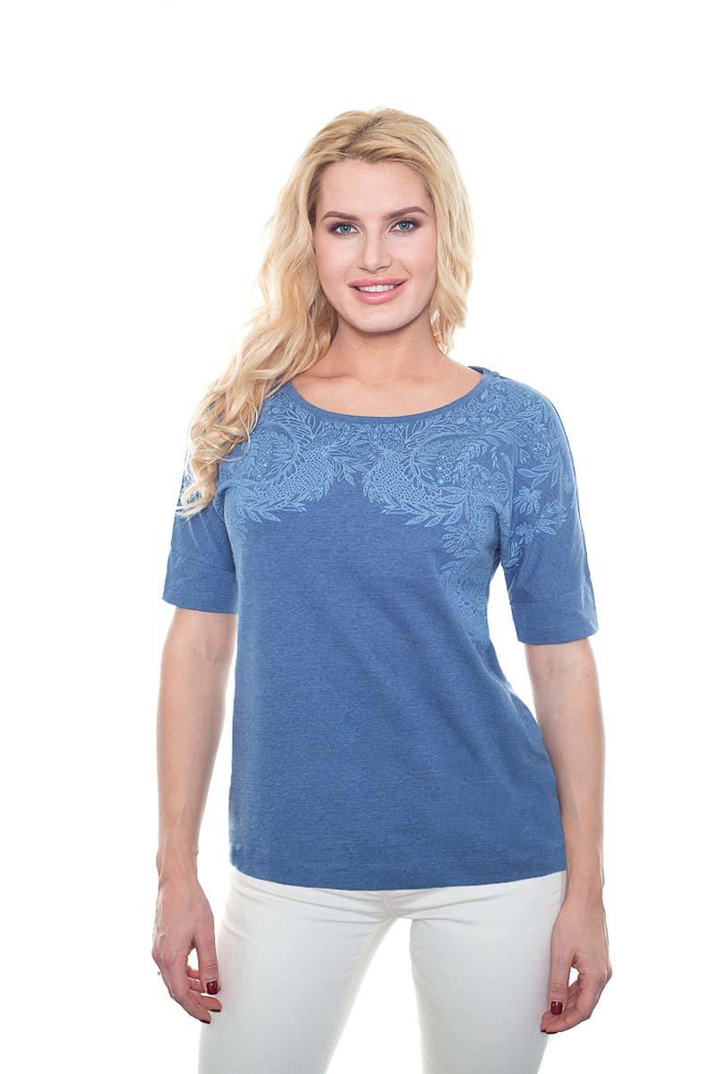 Футболка женская BeGood, цвет: синий. SS17-BGUZ-899. Размер 56SS17-BGUZ-899Женская футболка BeGood изготовлена из качественной смесовой ткани. У модели круглая горловина и оригинальный принт на груди.