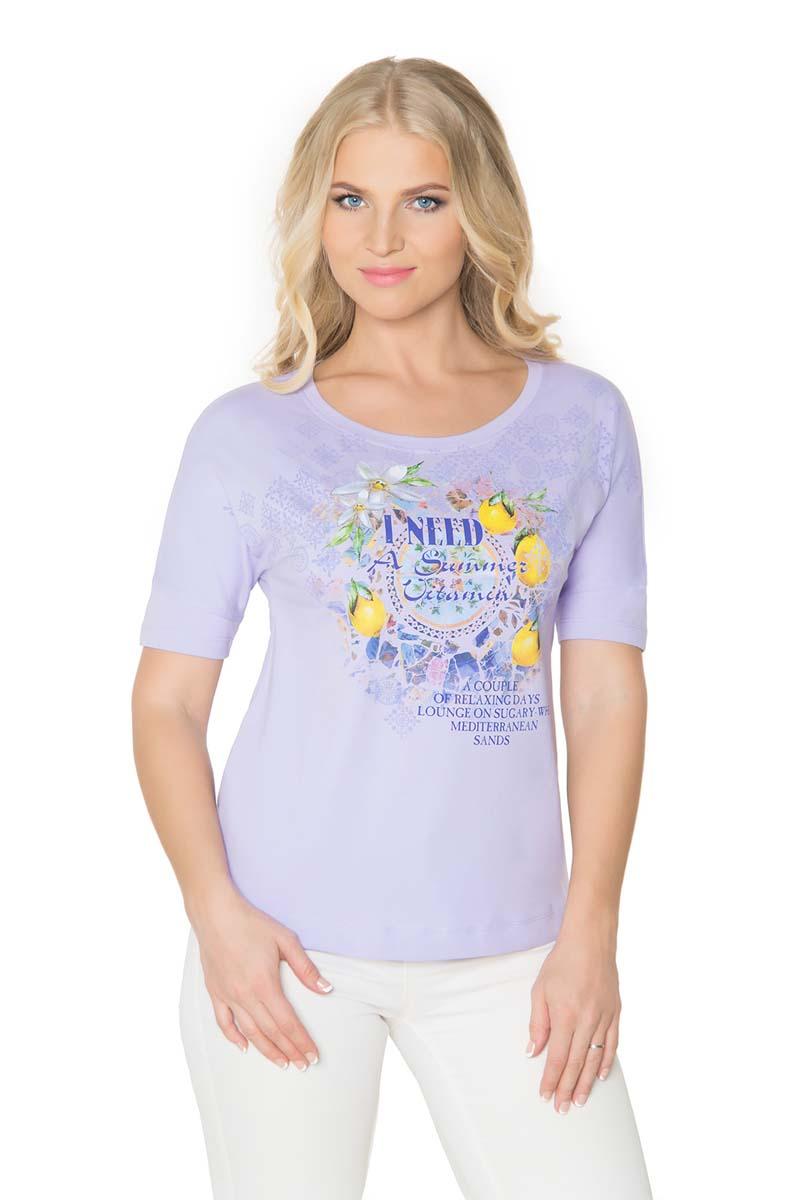 Футболка женская BeGood, цвет: сиреневый. SS17-BGUZ-977. Размер 46SS17-BGUZ-977Женская футболка BeGood изготовлена из качественной смесовой ткани. У модели круглая горловина и оригинальный принт на груди.