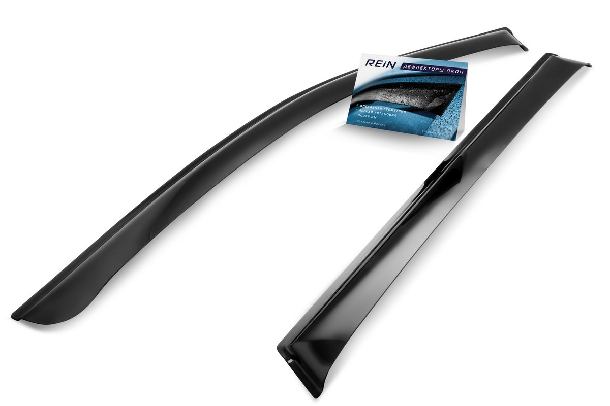 Ветровик REIN, для Газ 3302 Газель, цвет: черный, на накладной скотч 3М, 2 штREINWV033Ветровики REIN разрабатываются индивидуально под каждую модель автомобиля. При разработке используются современные технологии 3D-сканирования и моделирования, благодаря чему удается точно повторить геометрию кузова автомобиля. Важным фактором успеха продукта является качество используемых материалов. Для дефлекторов REIN используется традиционный материал – полиметилметакрилат (PMMA), обладающий оптимальными свойствами для производства ветровиков: высокая прочность и пластичность, устойчивость к температурным колебаниям и внешним химическим воздействиям. Ведется строгий входной контроль поступающего сырья, благодаря чему удается избежать негативного влияния разнотолщинности листов на геометрию изделий. Для крепления ветровиков в комплекте предусмотрен специализированный скотч 3М, благодаря чему достигается высокая адгезия.