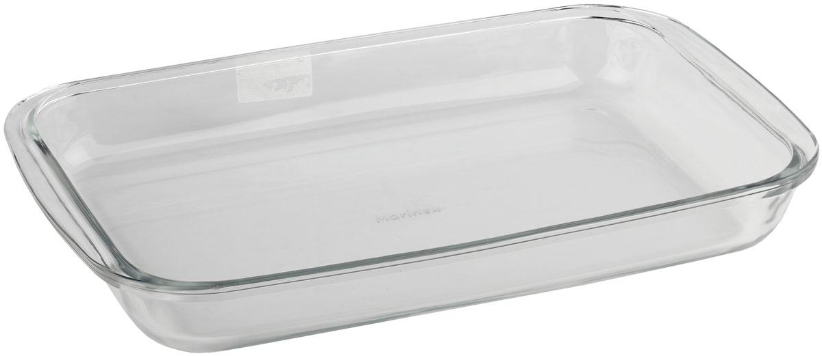 """Форма для запекания """"Marinex"""" изготовлена из жаропрочного стекла. Форма предназначена для приготовления горячих блюд. Изделие дополнено двумя ручками. Материал изделия гигиеничен, прост в уходе и обладает высокой степенью прочности. Форма идеально подходит для использования в духовках, микроволновых печах. Можно мыть в посудомоечной машине."""