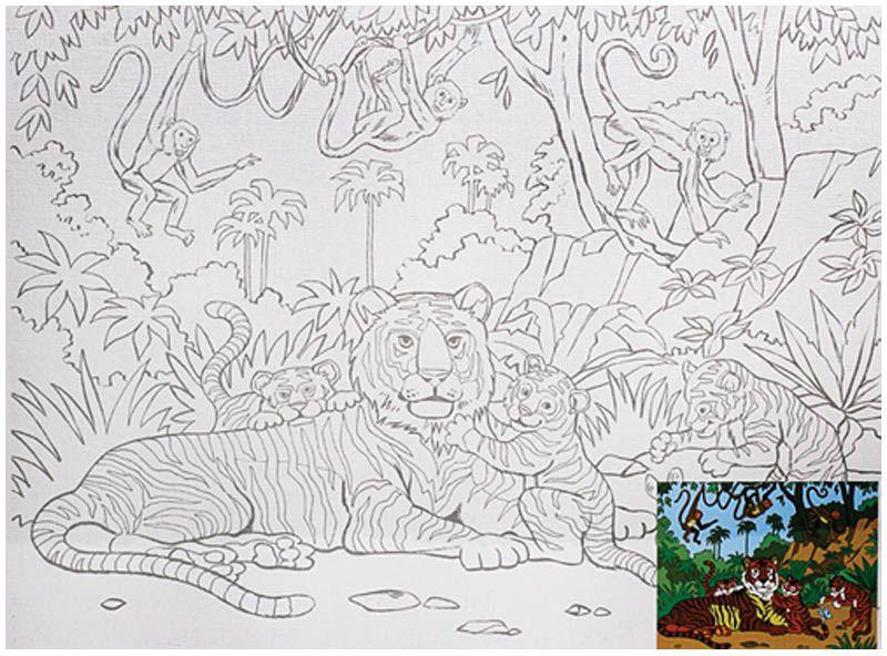 ЗХК Холст грунтованный Семья тигров с контуром