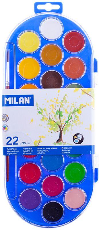 Milan Акварель 22 цвета с кистью80022Краски представлены в компактных круглых таблетках.Светоустойчивы, изготовлены из нетоксичных пигментов. К краскам прилагается кисть.