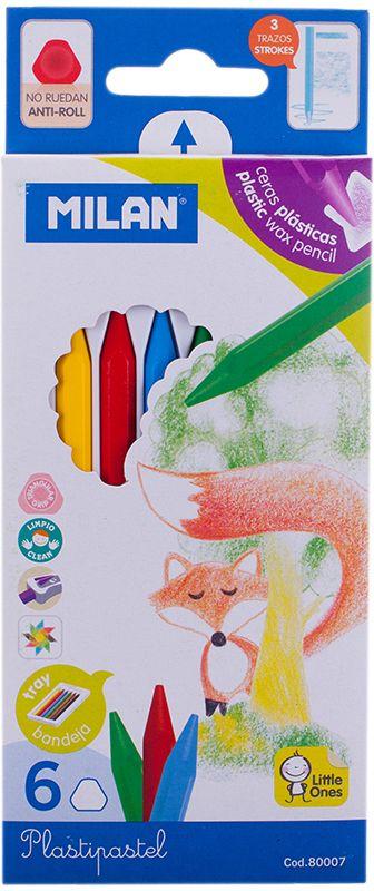 Milan Мелки восковые 6 цветов80007Набор Milan содержит 6 мелков ярких насыщенных цветов. Каждый мелок имеет трехгранную форму. Мелки обеспечивают удивительно мягкое письмо, позволяющее легко закрашивать большие площади. Мелки предназначены для рисования по бумаге, картону, керамике, дереву. Не токсичны и абсолютно безопасны для детей.Восковые мелки просты в применении, почему очень нравятся детям. Работа с такими мелками не требует никакой специальной подготовки - они сразу готовы к использованию. Цвета на бумаге получаются нежные и гармоничные. Восковые мелки Milan откроют юным художникам новые горизонты для творчества, а также помогут отлично развить мелкую моторику рук, цветовое восприятие, фантазию и воображение, способствуют самовыражению.
