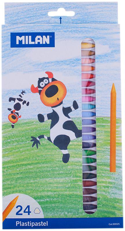 Milan Мелки восковые 24 цвета80025Набор Milan содержит 24 мелка ярких насыщенных цветов. Мелки обеспечивают удивительно мягкое письмо, позволяющее легко закрашивать большие площади. Мелки предназначены для рисования по бумаге, картону, керамике, дереву.Восковые мелки просты в применении, потому очень нравятся детям. Работа с такими мелками не требует никакой специальной подготовки - они сразу готовы к использованию. Цвета на бумаге получаются нежные и гармоничные.Восковые мелки откроют юным художникам новые горизонты для творчества, а также помогут отлично развить мелкую моторику рук, цветовое восприятие, фантазию и воображение, способствуют самовыражению.