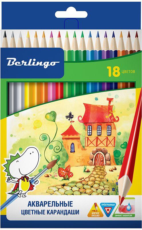 Berlingo Набор акварельных карандашей Сказочный город 18 цветовCP01718Карандаши цветные с заточенным грифелем, с эргономичной трехгранной формой корпуса. Стержень 3,3 мм. Яркие насыщенные цвета. Штрихимягко ложатся на бумагу. Обладают эффектом акварельных красок - нанесенный на бумагу рисунок можно размыть влажной кистью. Карандашилегко затачиваются. Упакованы в картонную лакированную коробку со склеенным европодвесом.