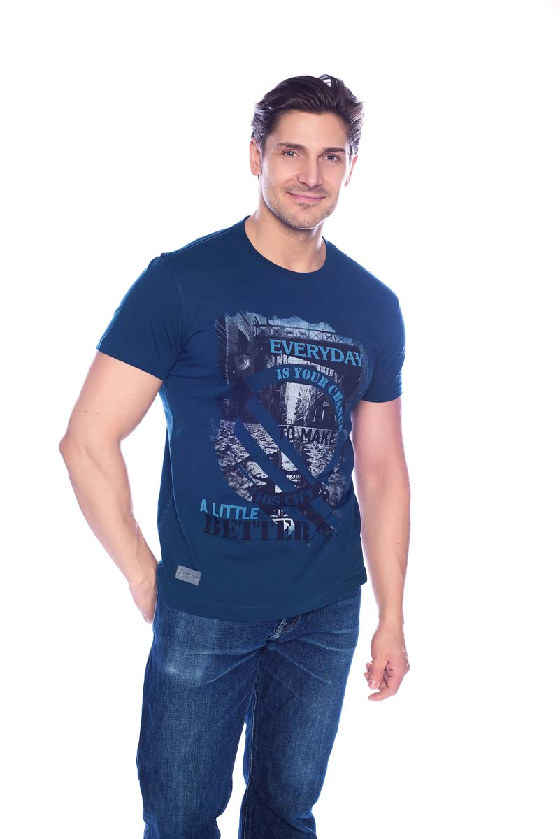 Футболка мужская BeGood, цвет: синий. SS17-BGUZ-998. Размер 50 футболки begood футболка стрекоза цвет молочный m