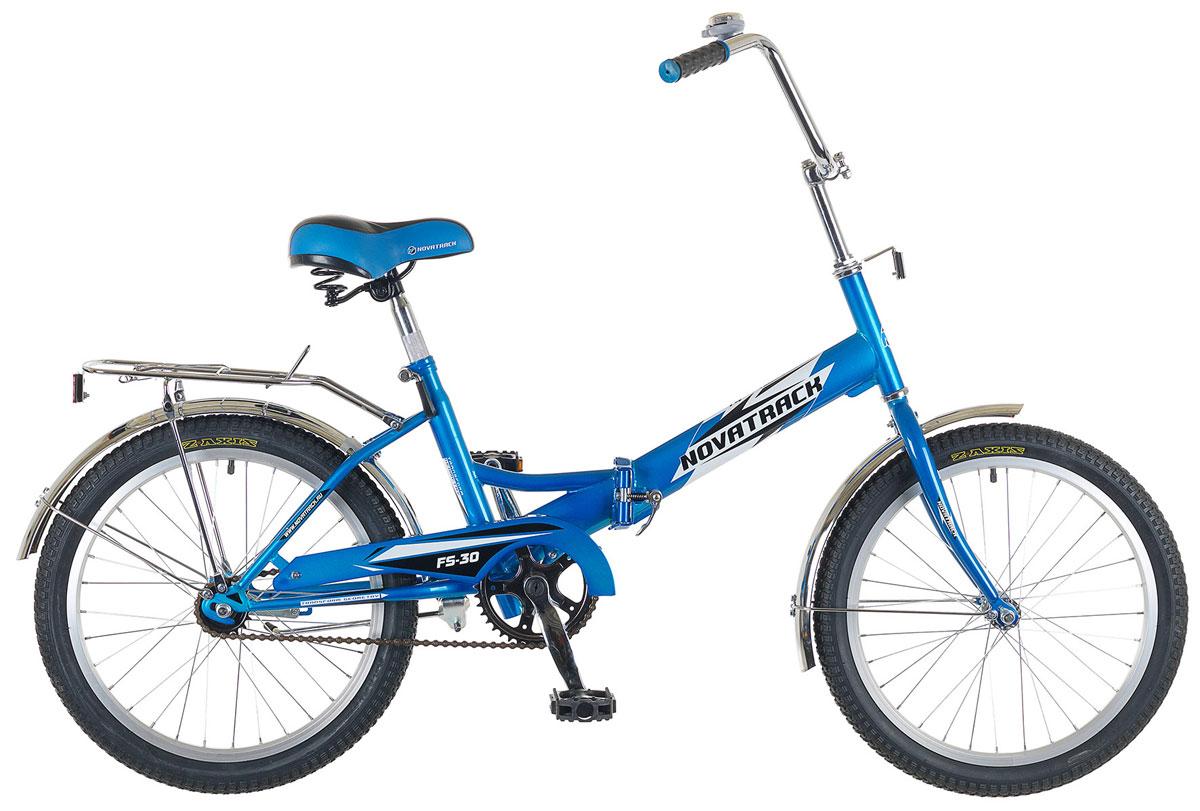 Велосипед складной Novatrack FS-30, цвет: синий, белый, 20 велосипед challenger mission lux fs 26 черно красный 16