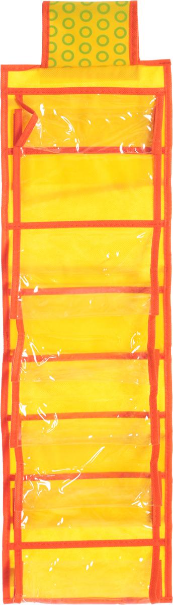Органайзер для мелочей детский Все на местах Sunny Jungle, подвесной, цвет: желтый, оранжевый, 14 карманов, 20 x 80 см1071021.Подвесной двусторонний органайзер для хранения детских мелочей Все на местах Sunny Jungle изготовлен из высококачественного нетканого материала (ПВХ и спанбонда). Изделие позволяет сохранить естественную вентиляцию, а воздуху свободно проникать внутрь, не пропуская пыль. Органайзер оснащен 14 раздельными секциями, которые идеально подойдут для различных принадлежностей вашего ребенка.Мобильность конструкции обеспечивает складывание и раскладывание одним движением. Органайзер удобно складывается в чехол. Размер органайзера: 20 х 80 см.