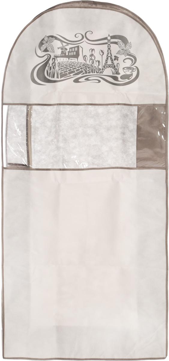 Чехол для одежды Все на местах Париж, двойной, цвет: серый, белый, 130 х 60 х 20 см1003034.Чехол Все на местах Париж изготовлен из сочетания спанбонда и ПВХ и предназначен для хранения одежды. Нетканый материал чехла пропускает воздух, что позволяет изделиям дышать. С таким чехлом любая одежда надежно защищена от пыли, запаха и механического воздействия. Застегивается на застежку-молнию.Материал: спанбонд, ПВХ.
