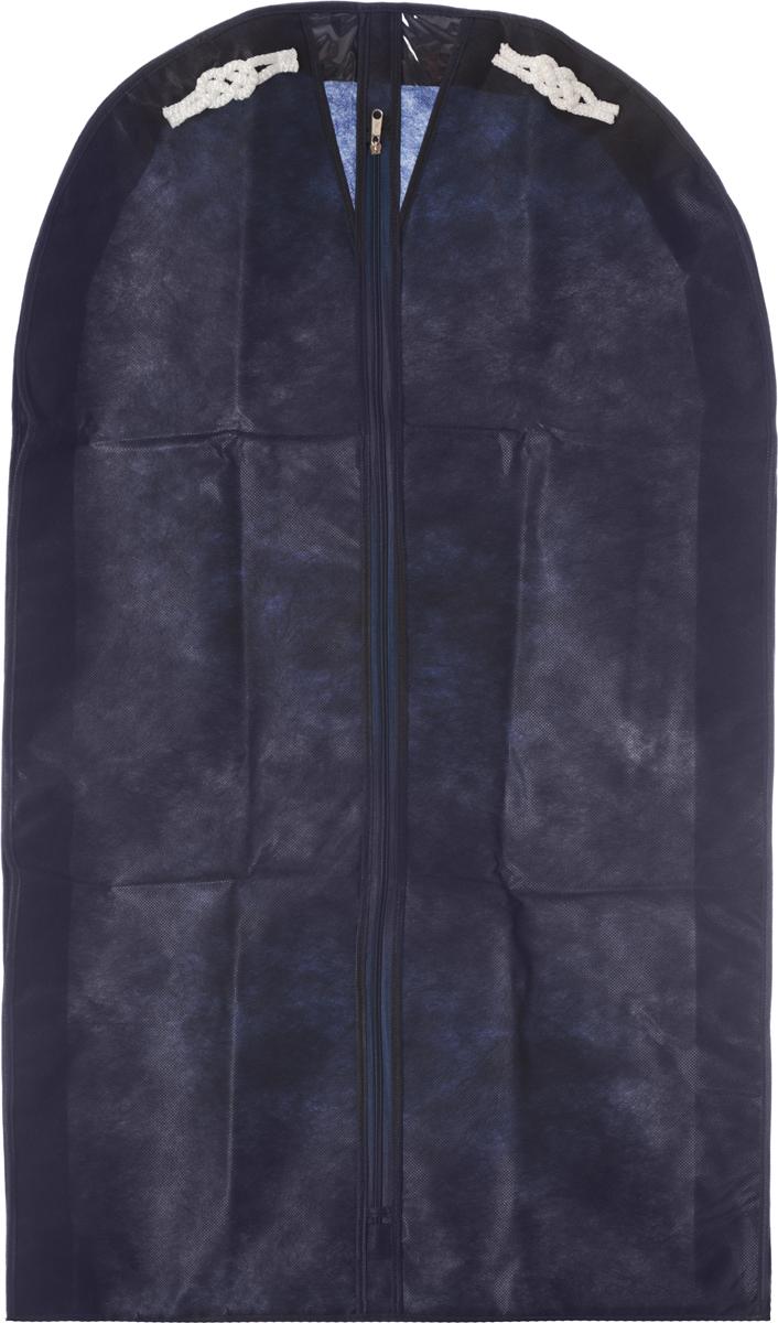 Чехол для мужского костюма Все на местах Классика, цвет: темно-синий, 60 х 100 х 10 см1004018.Чехол Все на местах Классика изготовлен из сочетания спанбонда и ПВХ и предназначен для хранения мужского костюма. Нетканый материал чехла пропускает воздух, что позволяет изделиям дышать. Благодаря пластиковым вставкам, чехол идеально держит форму и его стенки не соприкасаются с мехом изделия и не приминают его. С таким чехлом любой костюм надежно защищен от попадания запаха, пыли и механического воздействия. Застегивается на застежку-молнию.Материал: спанбонд, ПВХ.
