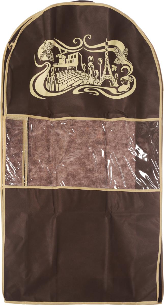Чехол для костюма Все на местах Париж, цвет: темно-коричневый, бежевый, 100 х 60 х 10 см1002008.Чехол Все на местах Париж изготовлен из сочетания спанбонда и ПВХ и предназначен для хранения костюма. Нетканый материал чехла пропускает воздух, что позволяет изделиям дышать. С таким чехлом любой костюм надежно защищен от попадания запаха, пыли и механического воздействия. Застегивается на застежку-молнию на задней стенке.Материал: спанбонд, ПВХ.