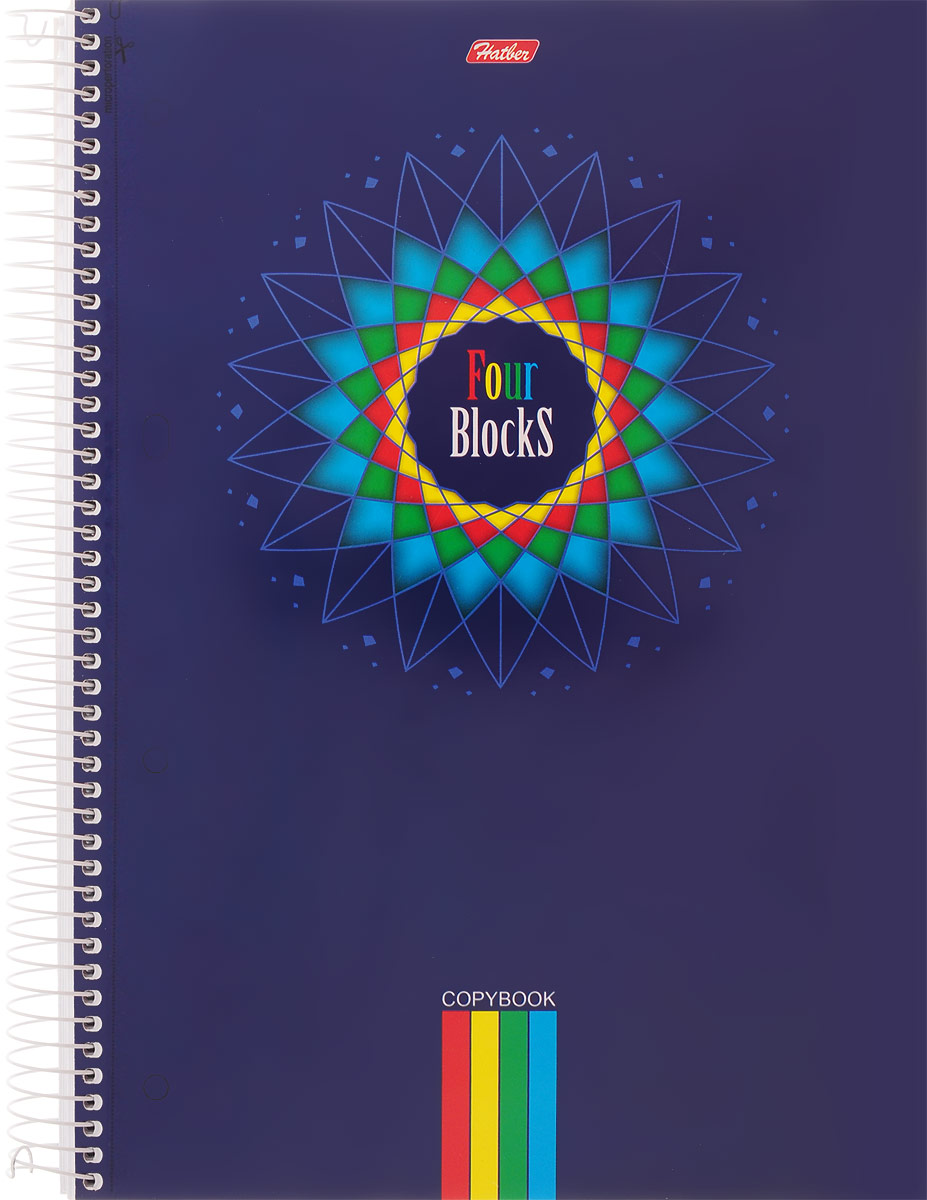 HatberТетрадьFour Blocks Цветок 160 листов в клетку160Тр4В1сп_03843_синийТетрадь Hatber Four Blocks. Цветок отлично подойдет для занятий школьнику, студенту или для различных записей.Обложка, выполненная из плотного картона, позволит сохранить тетрадь в аккуратном состоянии на протяжении всего времени использования. Лицевая сторона оформлена изображением яркого цветка.Внутренний блок тетради, соединенный спиралью, состоит из 160 листов белой бумаги и имеет 3 цветных разделителя для удобного использования, а также карман для хранения необходимых документов или мелких аксессуаров. Микроперфорация на отрыв предназначена для подшивки листов в архивную папку. Стандартная линовка в клетку голубого цвета дополнена полями, совпадающими с лицевой и оборотной стороны листа..